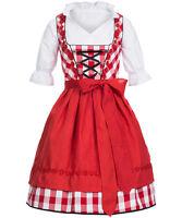 Trachtenkleid Dirndl Damen - Set 3 tlg - Karo Groß Rot - 100% Baumwolle