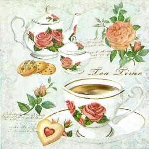4x Paper Napkins for Decoupage Decopatch Craft Tea Time Black