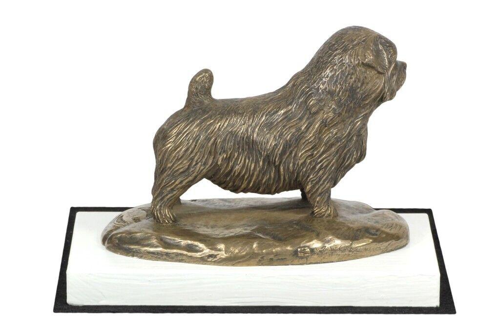 Norfolk Terrier - figurine made of Bronze on the bianca wooden base, Art Dog
