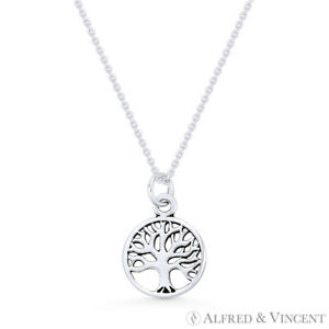Tree-of-Life-Charm-11mm-Circle-Pendant-amp-Chain-Necklace-in-925-Sterling-Silver