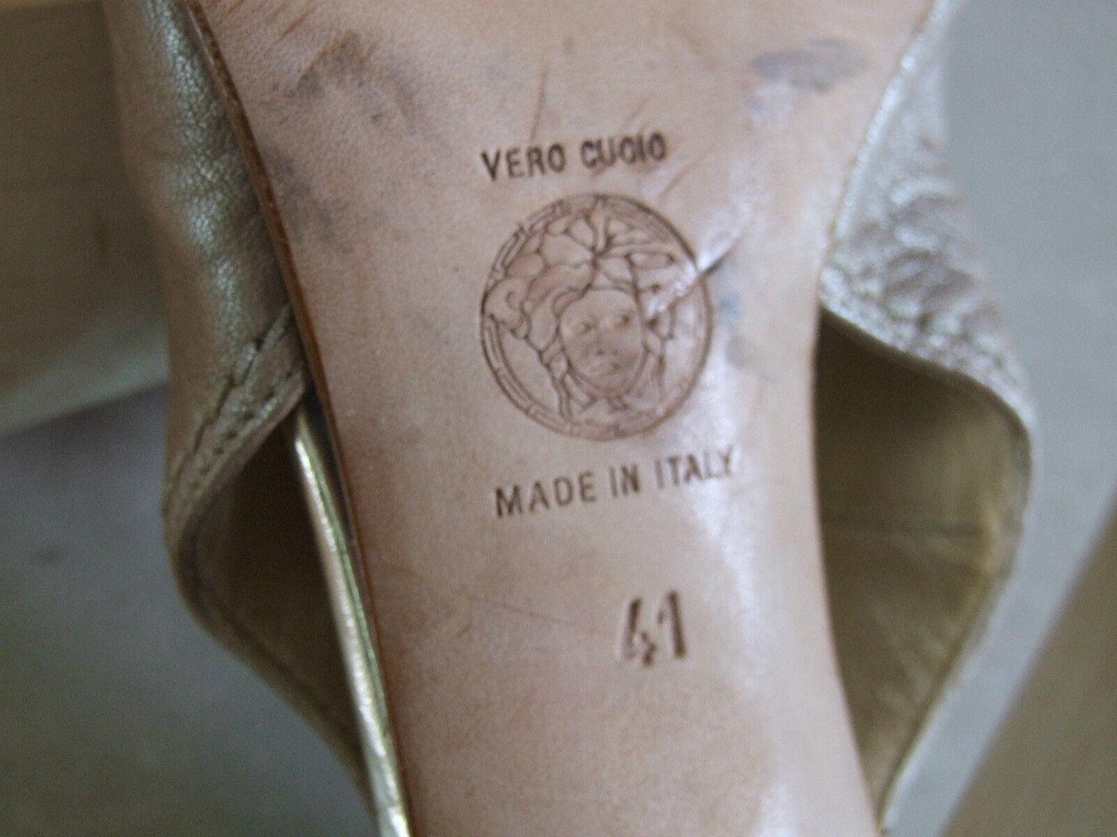 Versace Heel  41Stunning Leder Beige High Wedge Heel Versace Peep Toe Slingback Schuhes ecfcb2