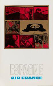 Affiche Originale - Raymond Pages - Air France - Espagne - Tourisme - 1971