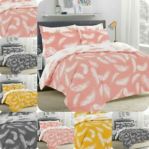Feather-PolyCotton-Reversible-Duvet-Quilt-Cover-Pillowcase-Bedding-Set-All-Sizes