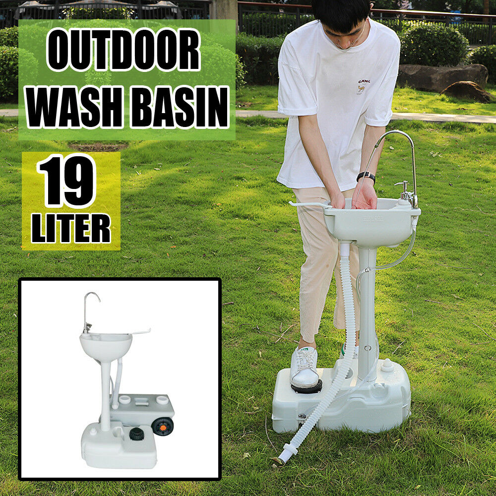 Outdoor Camping Wash Basin Sink Removable Water Tank Faucet w Pipe 3.5LSanitizer