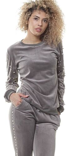 2Pcs Tracksuit Sweatshirt Pants Set Womens velour Casual Lounge Wear Sport Suit