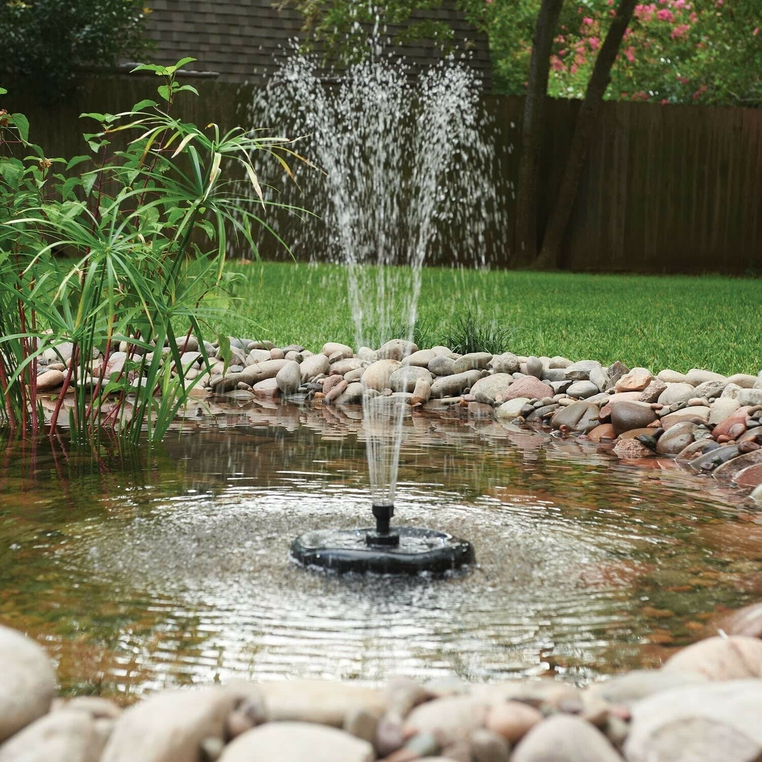 Floating Fountain with UV Filter, Pump and LEDs - Fish Ponds, Waterfeatures