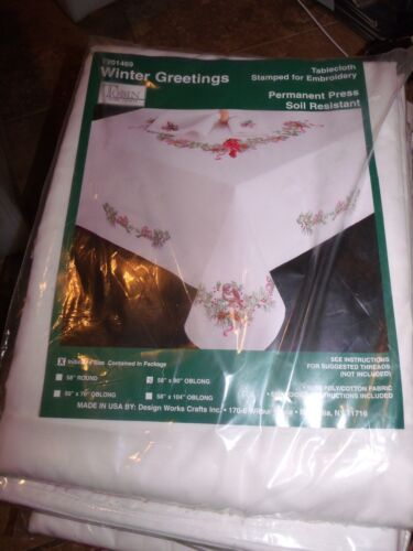 """Tobin Stamped Tablecloth WINTER GREETINGS  58/"""" x 90/""""  Embroidery"""