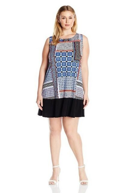 Tiana B Womens Plus Size Tile Printed Knit Trapeze Dress With