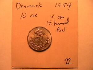 1954 Denmark 10 Ore Coin Very Lustrous and Ch BU Scarce Date in BU