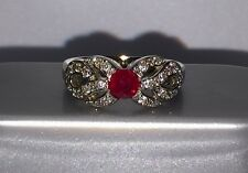 Adorable Ruby Ring With Diamonds In 14 K White Gold