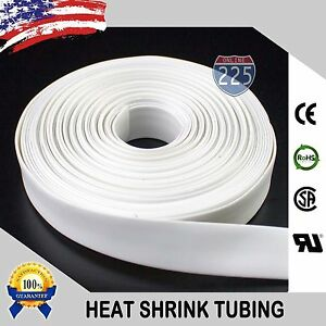 "100 FT. 100' Feet WHITE 1/4"" 6mm Polyolefin 2:1 Heat Shrink Tubing Tube Cable US"