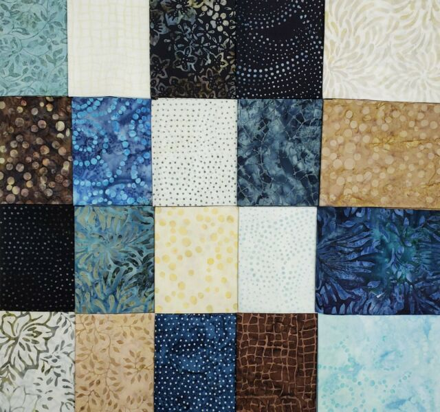 Blue Batik w Flowers Cotton Fabric Bundle,Last of the Best~2 Yds 8 in