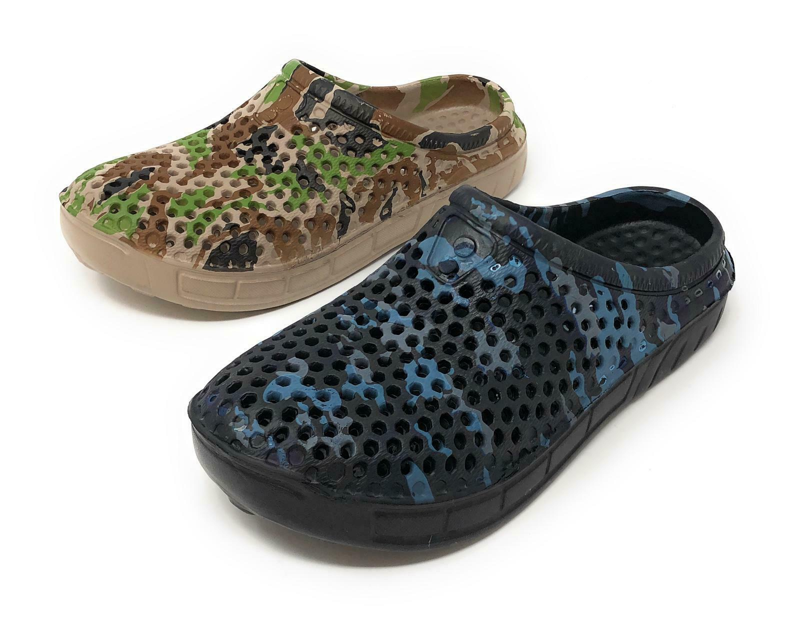 JEFFRICO Clogs for Women Nurse Shoes Garden Shoes Blue Green Camouflage NEW