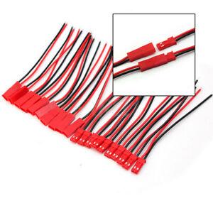 10-Paar-Connector-2-PIN-JST-BEC-Stecker-und-Buchse-mit-10-cm-Kabel-fuer-Lipo-Akku