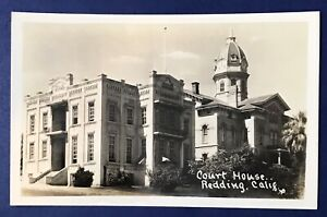 CA Redding California Shasta County Courthouse RPPC Real Photo Postcard Picture