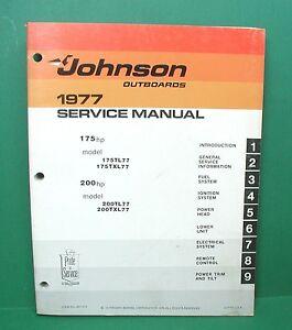 original 1977 johnson 175 200 hp outboard motor factory service rh ebay com 1985 Johnson 175 Johnson 175 1989