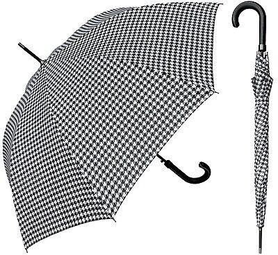 "Auto-Open Umbrella-RainStoppers Rain//Sun UV 48/"" Arc Black/&White Checker Print"