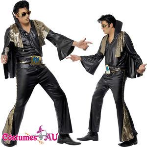 Mens-Elvis-Presley-Black-Gold-Costume-Rock-and-Roll-50s-1950s-Star-Fancy-Dress