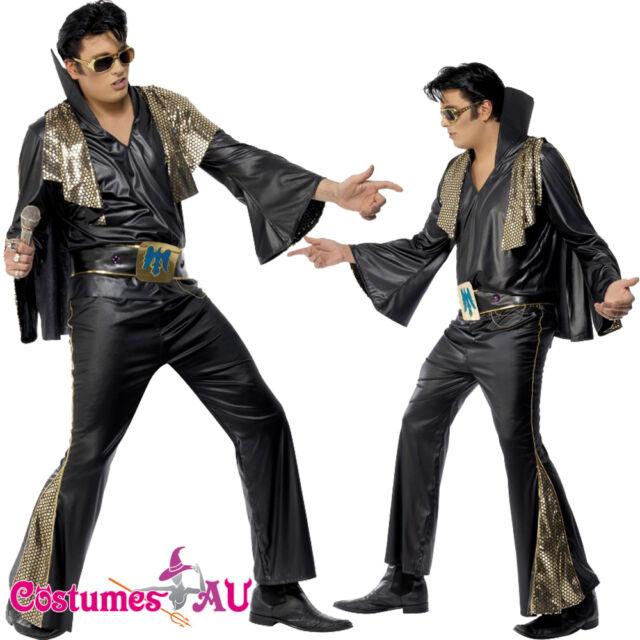 Mens 1950 60s 70s King Of Rock N Roll White Jumpsuit Costume Fancy Dress Presley