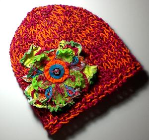 Knitted-Slim-Fit-Beanie-Skull-Cap-Hat-Color-Tangerine-Dream