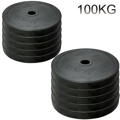 "Weightlifting 2"" Rubber Bumper Olympic Disc Weights Plates Powerlifting Bar Gym"