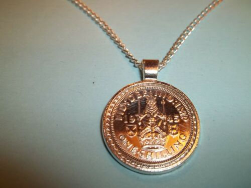 SCOTTISH LION CASED NECKLACE SILVER SHILLING COIN 1938-82nd BIRTHDAY