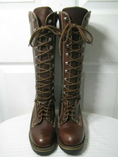 Nine West Brown Leather Knee High Lace Up Logger B