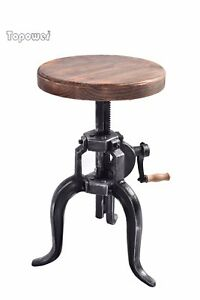Delicieux Image Is Loading Vintage Bar Stool Swivel Industrial Wooden Metal Crank