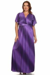 Details about New CANARI Women\'s Plus Size Short Sleeve Purple Haze MAXI  DRESS