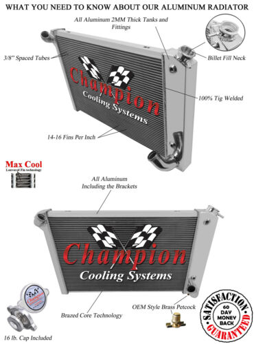 1969 1970 1971 1972 Corvette 3 Row Champion Advanced All Aluminum Radiator