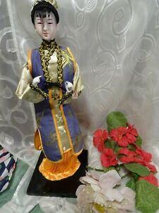 Bambola-Asiatico-Sul-Supporto-Meravigliose-Blu-bianco-TG-Seta-e-Grado-Dorati