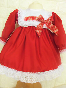 DREAM 0-2 YEARS BABY GIRLS SPANISH WHITE RED LINED  DRESS  OR  REBORN DOLLS