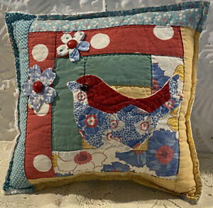 NEW-Handmade-Bird-And-Flowers-Pillow-Vintage-Quilt-Old-Chenille-Bedspread-Cute
