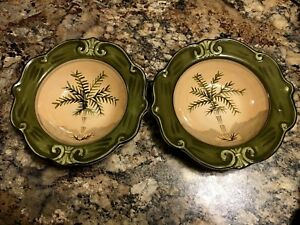 SAUVIGNON-WEST-INDIES-HAND-PAINTED-CHINA-2-LG-9-034-SOUP-CEREAL-BOWLS