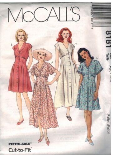 8181 McCalls SEWING Pattern Misses Empire Front Button Dress Dolman Cap UNCUT