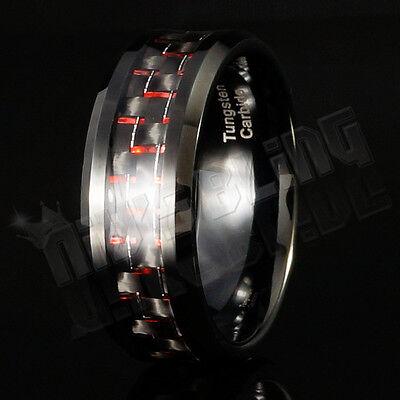 Black and Red Carbon Fiber Tungsten Carbide Inlay Wedding Band Bridal MEN Ring