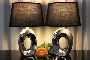 2-Lampen-schwarz-silber-B-Ware-Nachttischlampe-Keramik-Tischlampe-Tischleuchte