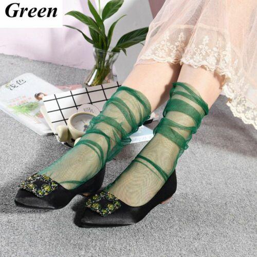 New Women Transparent Mesh Thin Ankle Socks Short Hosiery Chiffon Fish Net