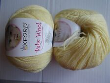 Oxford Baby Wool wool blend yarn, Baby Yellow, lot of 2 (219 yds each)