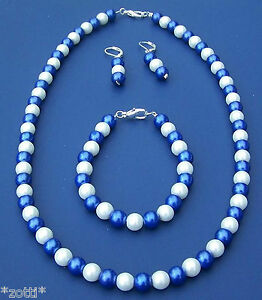Blue-White-Pearls-Earrings-Chain-Bracelet-For-Football-Fans