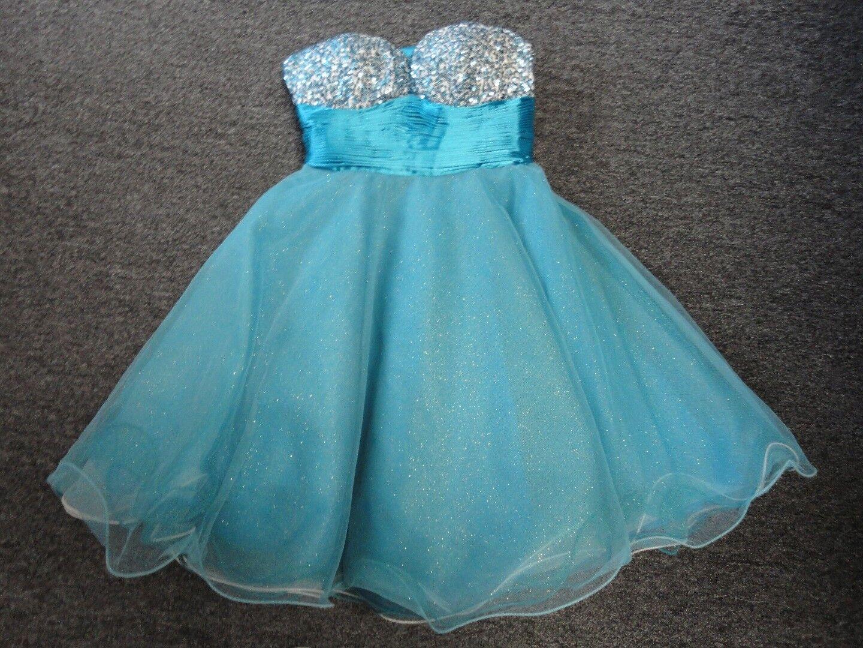 CLARISSE Aqua Blau Polyester Strapless Sequined Prom Party Dress Größe 2 EE7088