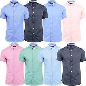 7d30ab359edb Mens Slim Fit Shirt Stallion Casual Short Sleeve Summer Cotton Top ...
