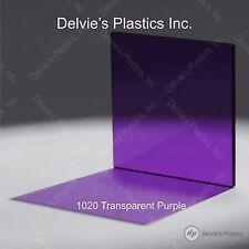 "5 Sheets 1/8""  1020 Transparent Purple Cell Cast Acrylic Plexiglass  12"" x 24"""