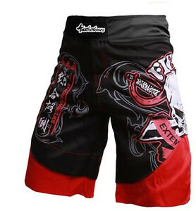 MMA Grappling Shorts Kick Boxing Cage Fight Muay Thai Martial Arts Red P2