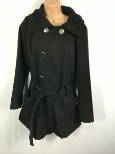 WOMENS-ATMOSPHERE-BLACK-DOUBLE-BREASTED-BUTTON-UP-OVERCOAT-WITH-BELT-SIZE-UK-14