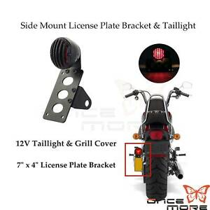 Motorcycle License Plate Bracket Side Mount Light