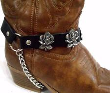 BLACK LEATHER ROSE - ROSES BOOT CHAINS STRAPS BIKER WESTERN COWBOY BUCKLE