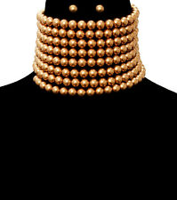 HOT Statement Gold Topaz  Faux Pearl Wide Choker Necklace Set By Rocks Boutique