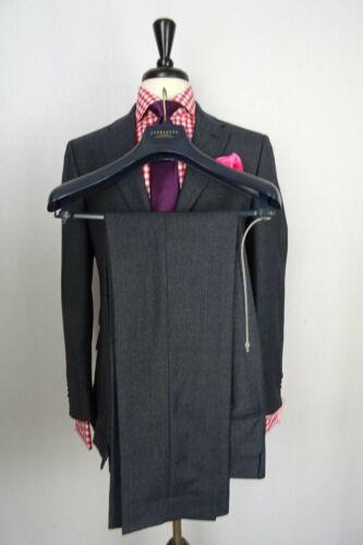 Men/'s Navy Blue Checked Alexandre Savile Row Tailored Fit Suit 38 40 42 44 VB37