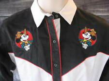 Mickey Mouse Womens Small Embroidered Small Western Shirt Black White